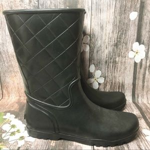 Sperry Topsider Black Quilted Rubber Rain Boots